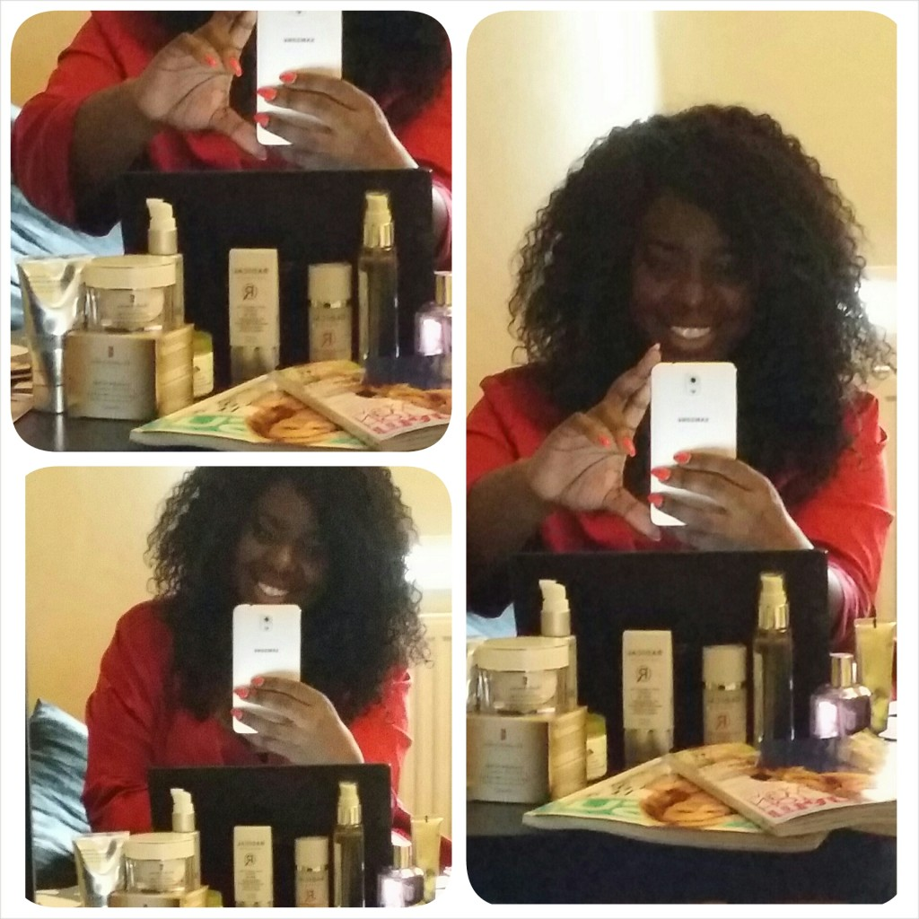 ...lady in red and in BED!  Working from home - surrounded by my beauty products and my glossy magazines!