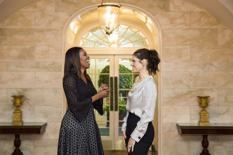 Michelle Obama with Meredith Koop prior to the 2016 National Student Poets ceremony in the White House, September 8, 2016; On Koop: Monse top and pants. Official White House Photo by Amanda Lucidon