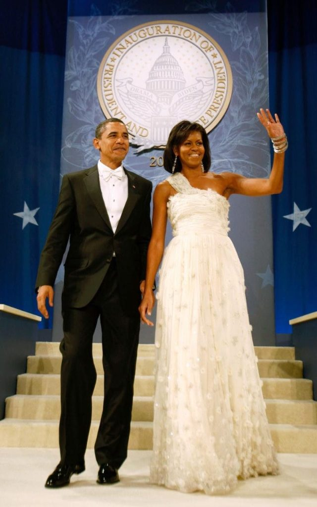 Michelle Obama wearing Jason Wu in 2009 CREDIT: REX