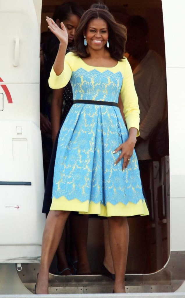 Michelle Obama in Preen CREDIT: PA